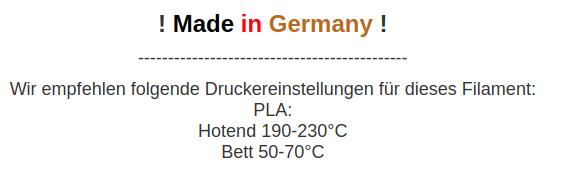 PLA Material Hotend 190-230 Grad ud Bett 50-70 Grad